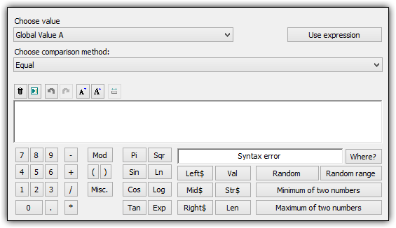 Screenshot for The Expression Editor in Multimedia Fusion 2 and Clickteam Fusion